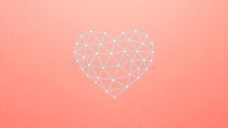 神经网络的概念与心脏的在珊瑚背景 人工智能,机器和深刻学会 库存例证