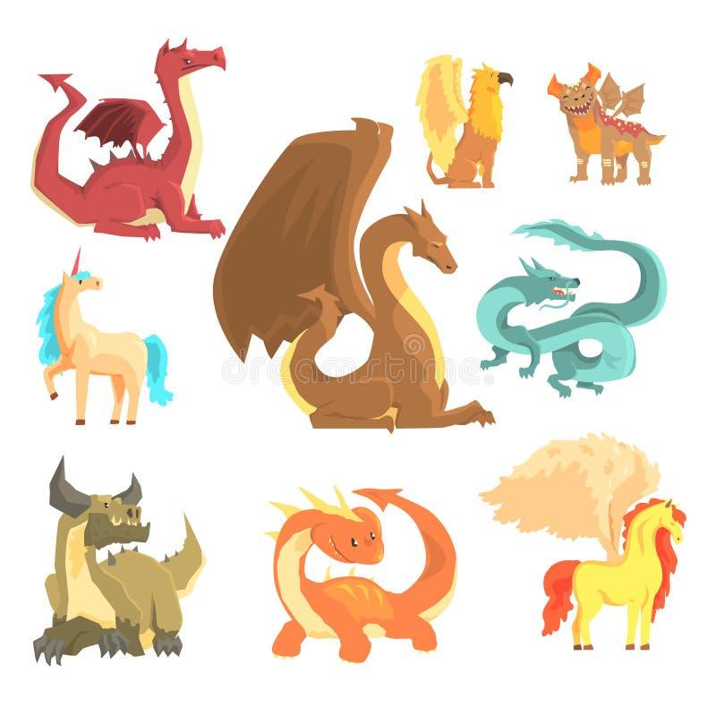 神话动物,标签设计的集合 龙,独角兽,佩格瑟斯,新来的人,动画片详述了例证 向量例证