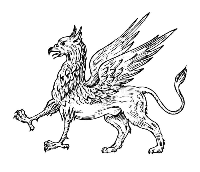 神话动物 神话古色古香的新来的人 古老鸟,在老葡萄酒样式的意想不到的生物 刻记 库存例证