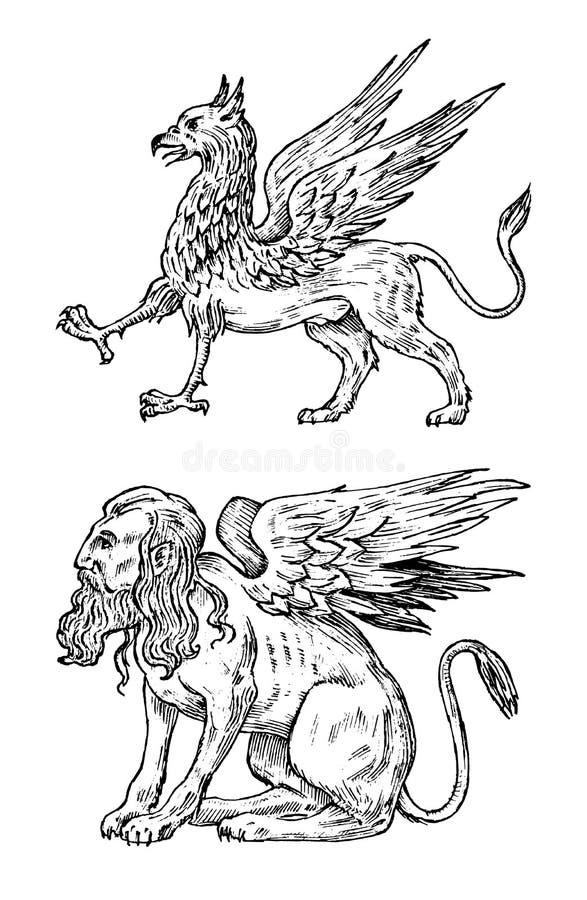 神话动物 神话狮身人面象和古董新来的人 古老鸟,在老葡萄酒样式的意想不到的生物 向量例证