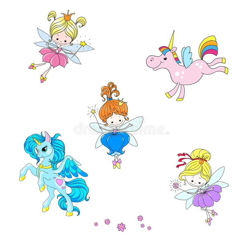 神话字符的一汇集 意想不到的漫画人物 可爱的神仙和独角兽 向量例证