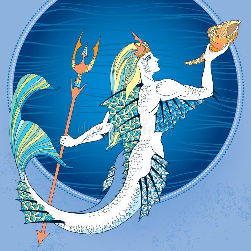 神话海王星或波塞冬与三叉戟 库存例证