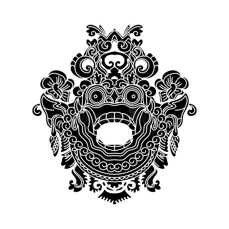 神话神头,印度尼西亚传统艺术 向量例证