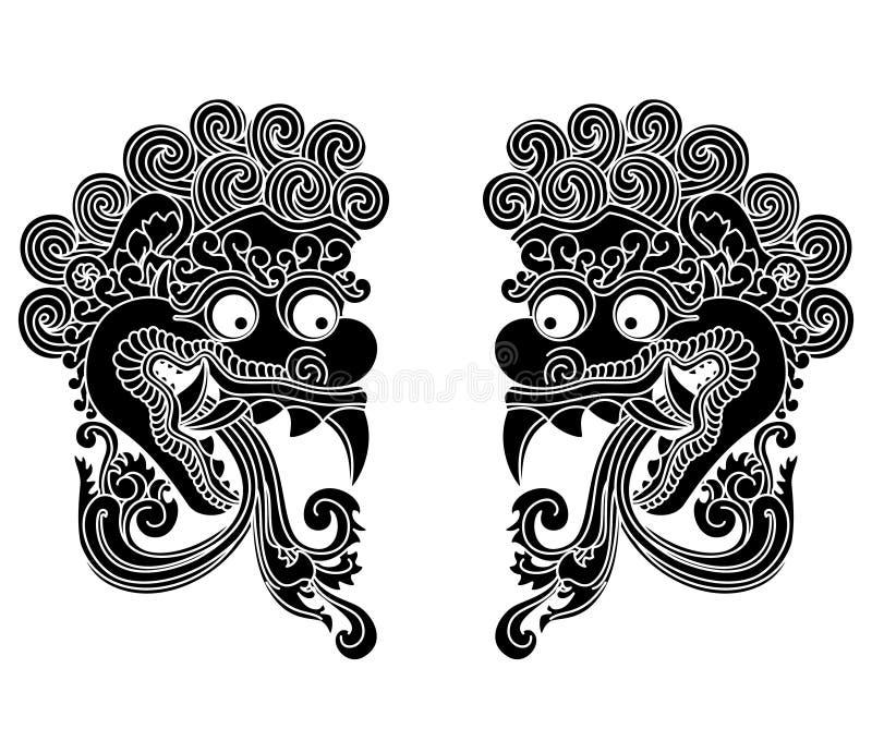 神话神头,印度尼西亚传统艺术 皇族释放例证