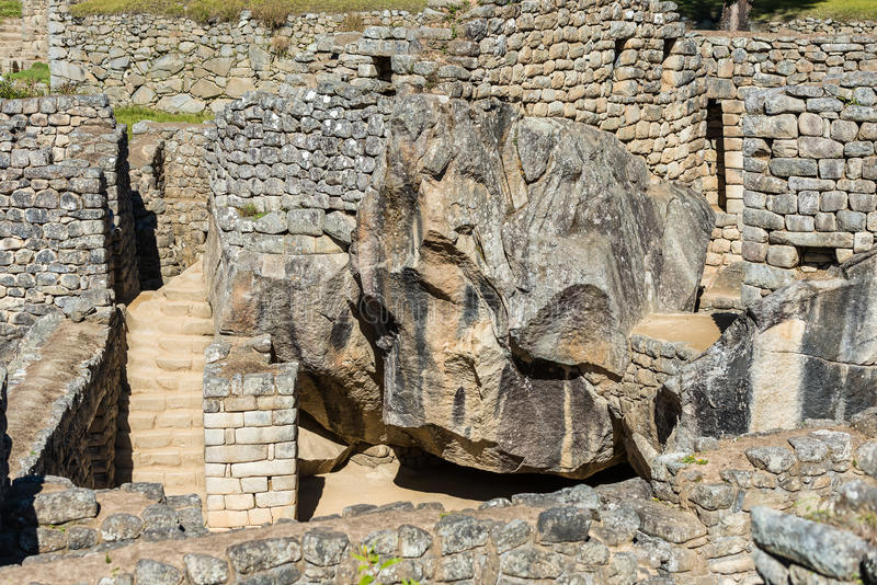 神鹰马丘比丘的寺庙破坏秘鲁安地斯库斯科省Pe 图库摄影