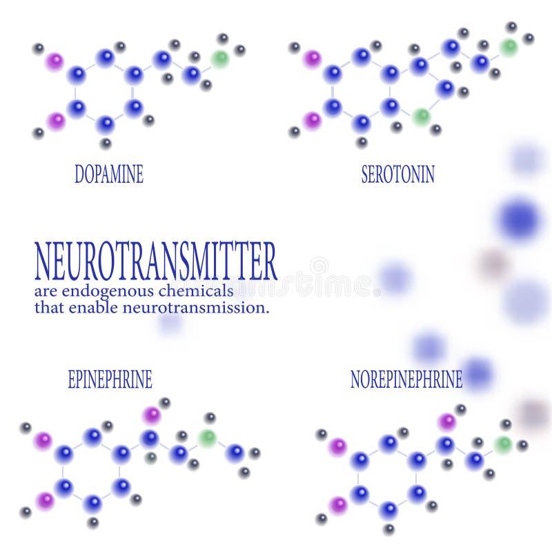 神经传送体化工分子式  肾上腺素,降肾上腺素, 5-羟色胺,多巴胺,在模糊 库存例证