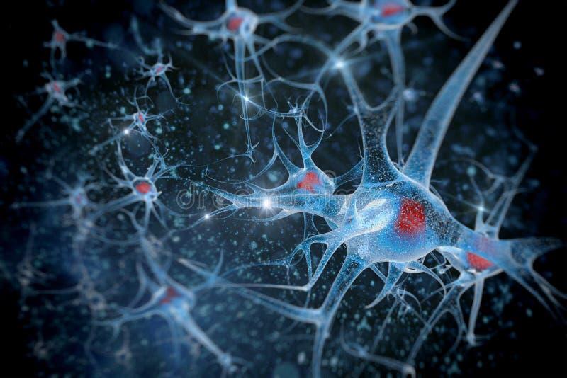 神经元在颜色背景中 皇族释放例证