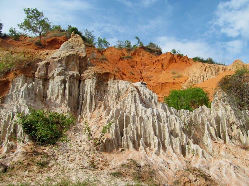 神仙的小河红色峡谷在美奈,越南 免版税库存照片
