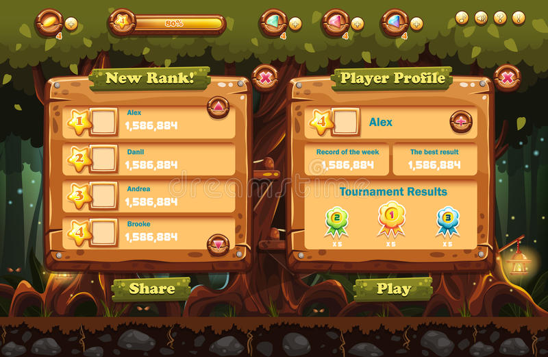 神仙的森林在与屏幕、按钮、酒吧进步计算机游戏的和网络设计的手电和例子的晚上 集1 向量例证