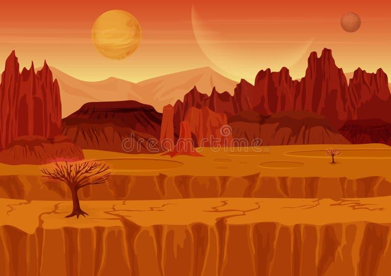 神仙的比赛科学幻想小说红色毁损外籍人风景 向量例证