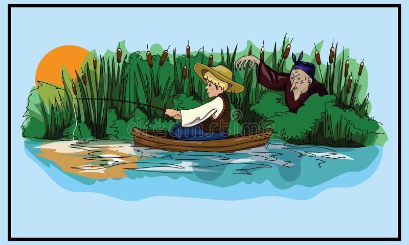 神仙的美妙的例证闪亮指示宫殿传说 乌克兰民间传说 男孩和巫婆 明信片 书图解 皇族释放例证