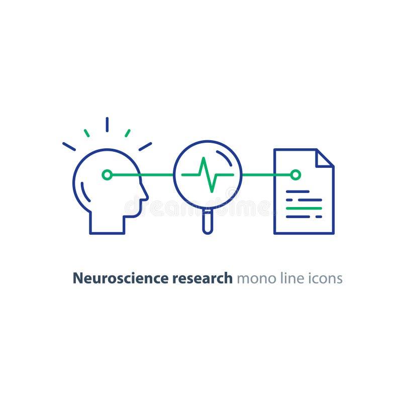 神经科学和心理学概念商标、科学研究、纸张文件和铅笔 库存例证