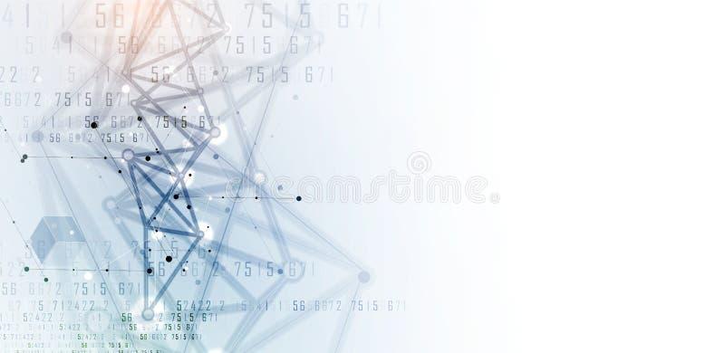 神经网络概念 与链接的被连接的细胞 高technol 向量例证
