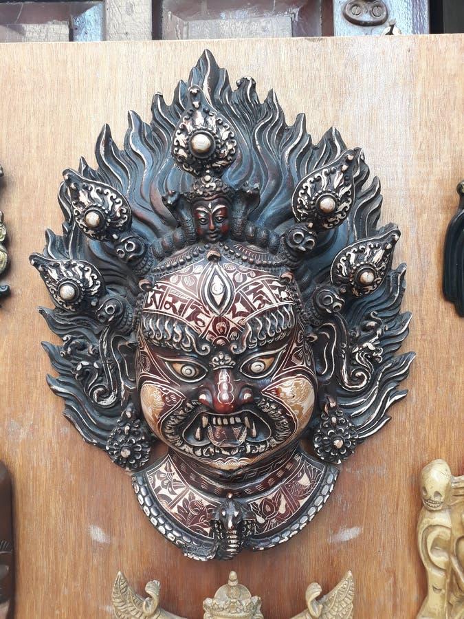 神Bhairab的危险面孔在尼泊尔 免版税库存照片