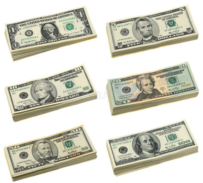 票据美元堆积我们 免版税库存照片