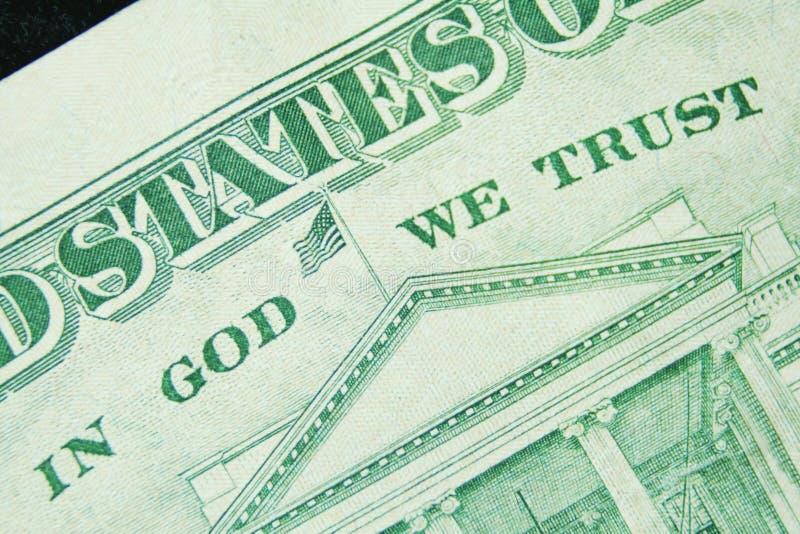 票据美元每神信任 免版税库存照片