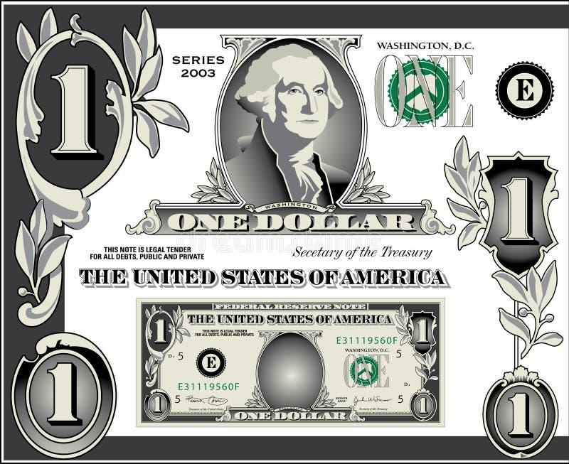 票据美元要素s u 向量例证