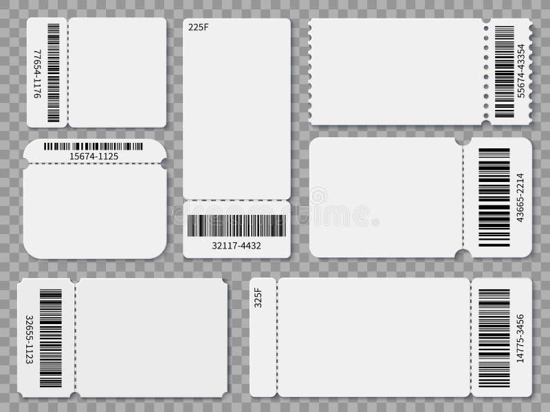 票模板 空白承认一堆节日音乐会剧院废物票和优惠券与条形码被隔绝的传染媒介集合 库存例证