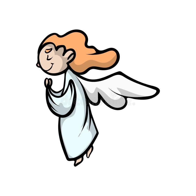 祷告与长的红色头发和翼的孩子天使 向量例证
