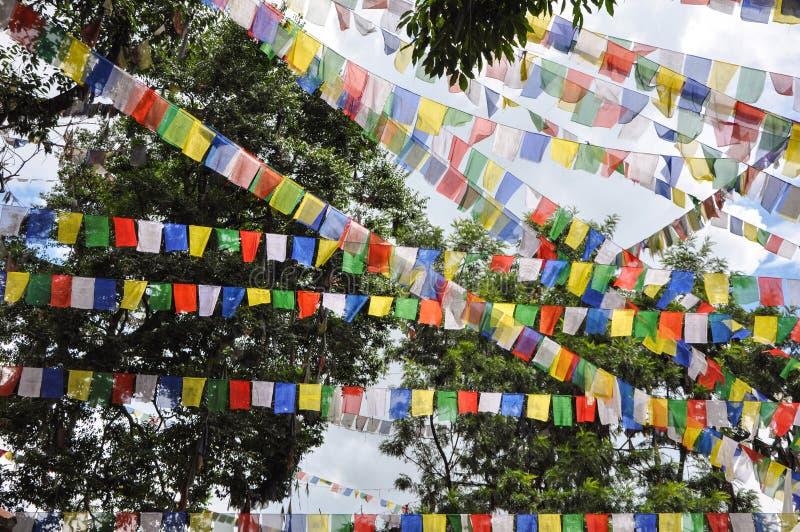 祷告旗子看的垂悬的ans飞行在一个多小山区域在尼泊尔 免版税图库摄影