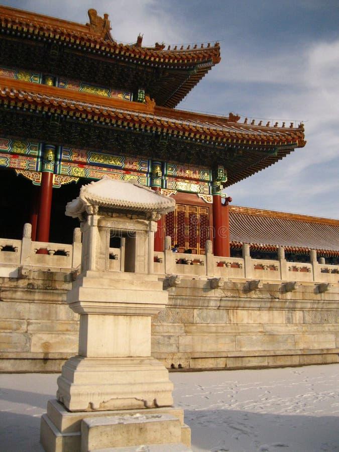 紫禁城风景在冬天 免版税库存图片