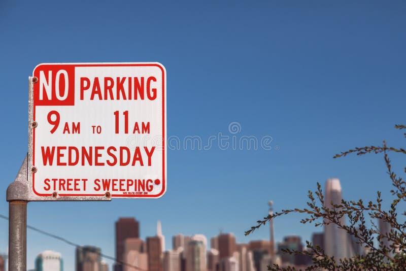 禁止停车星期三 免版税库存图片