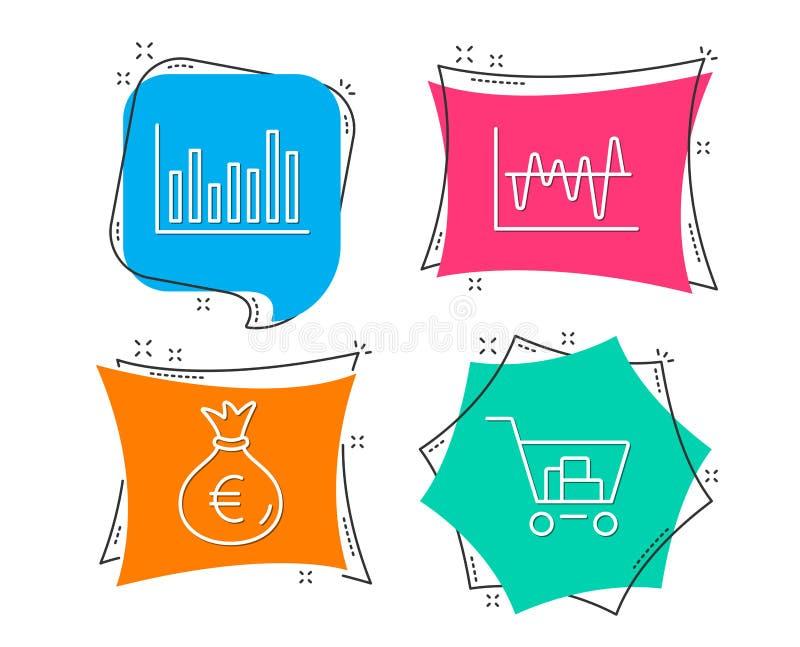 禁止图、金钱袋子和股票分析象 在购物符号世界的所有货物互联网 皇族释放例证