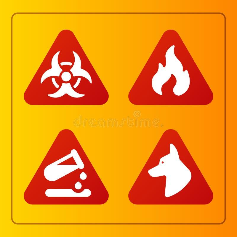 禁止标志产业生产传染媒介黄色红色警告危险标志禁止的安全信息和 皇族释放例证