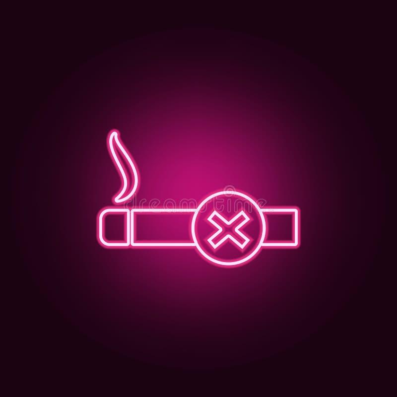 禁止标志抽烟的象 机场的元素霓虹样式象的 网站的简单的象,网络设计,流动应用程序,信息 库存例证