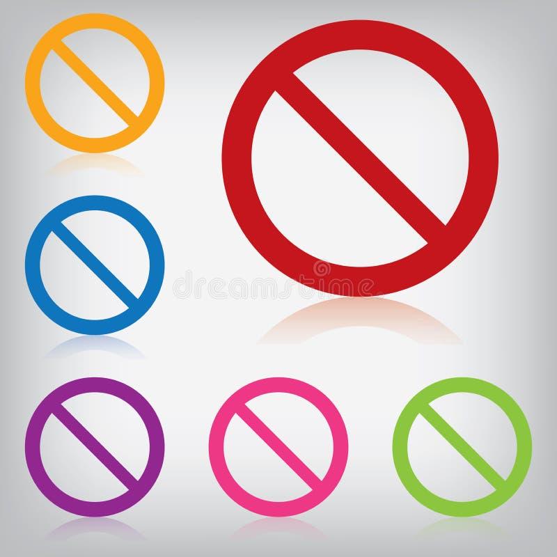 禁止的传染媒介组装五颜六色的标志  向量例证