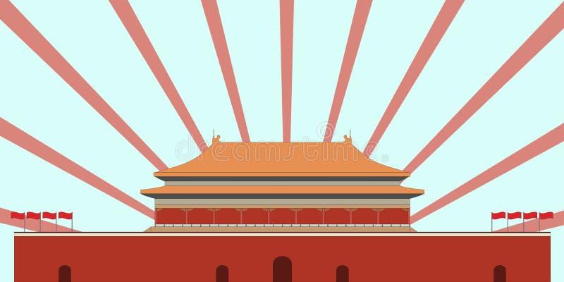 禁止的城市 门天堂般的和平 北京方形天安门 Beijin 库存例证