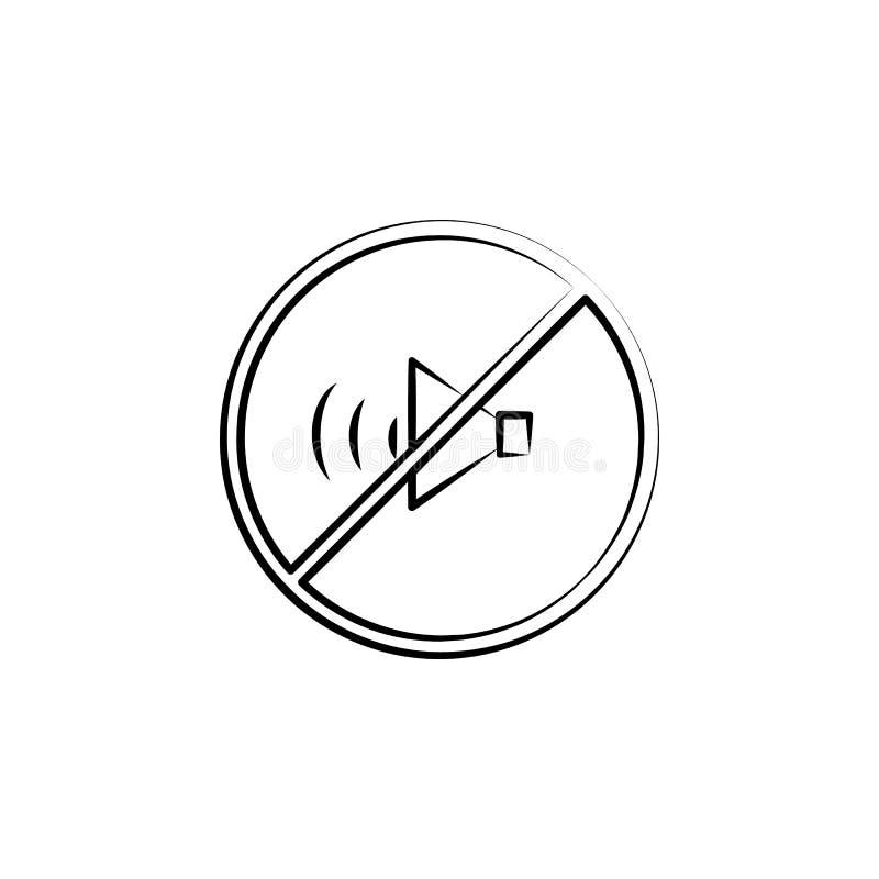禁止的声音,没有合理的概念线象 简单的元素例证 从母性s的没有合理的概念概述标志设计 库存例证