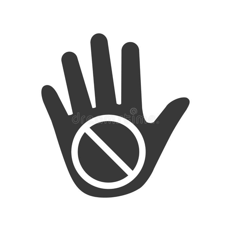 禁止的标志中止棕榈手象 没有词条禁止 不要涉及 剪影标志 空间 传染媒介被隔绝的例证 库存例证