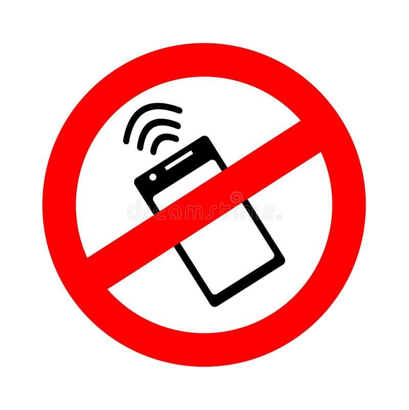 禁止的标志使用NFc技术在有非现金近的领域通信付款波浪的一个智能手机  ?? 皇族释放例证