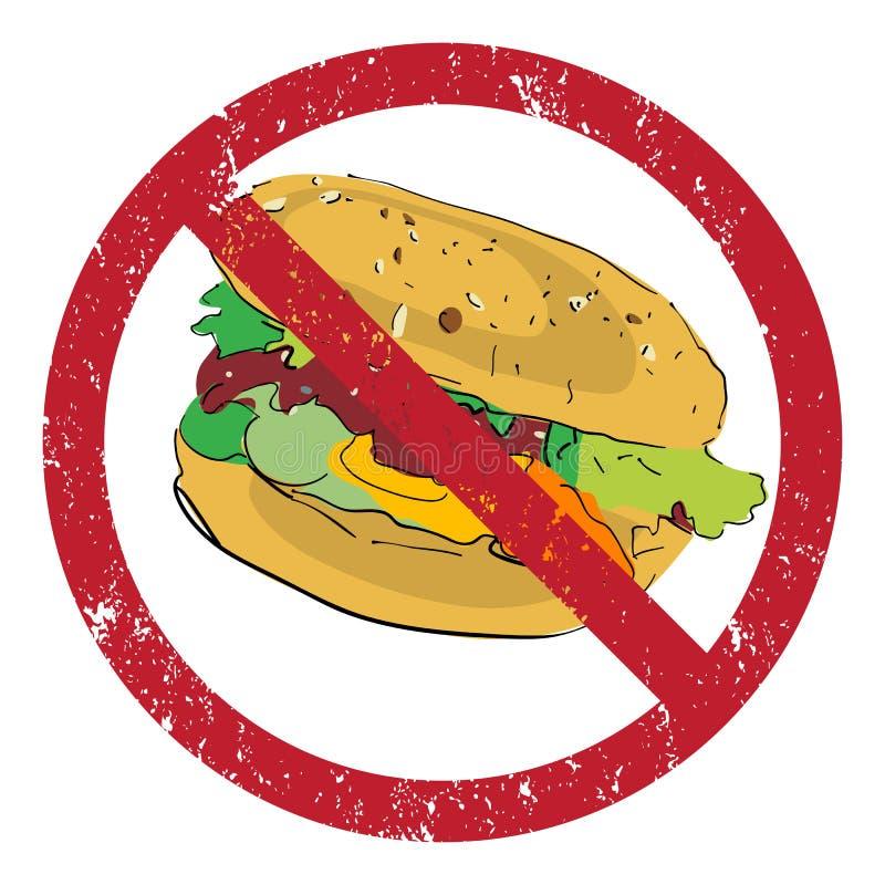 禁止的汉堡包 向量例证