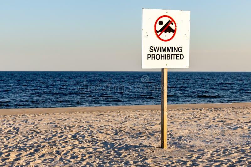 禁止的符号游泳 免版税库存图片