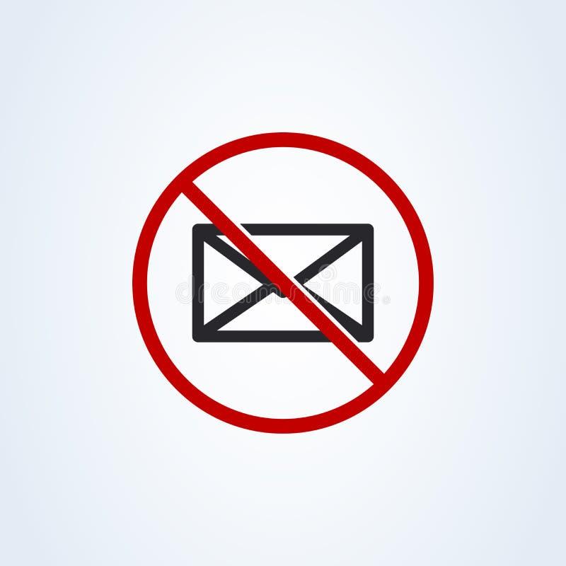 禁止的邮寄 不要送消息平的样式 传染媒介在白色背景隔绝的例证象 库存例证