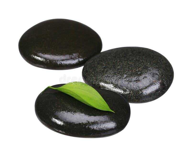 禅宗小卵石。被隔绝的温泉石头和绿色叶子 图库摄影