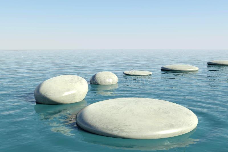 禅宗岩石水池 向量例证
