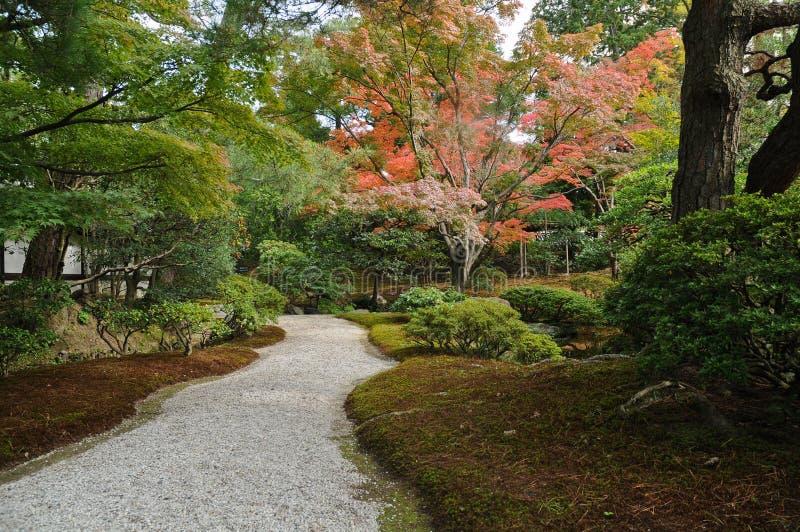 禅宗平安的段落在日本庭院里在秋天 免版税库存图片