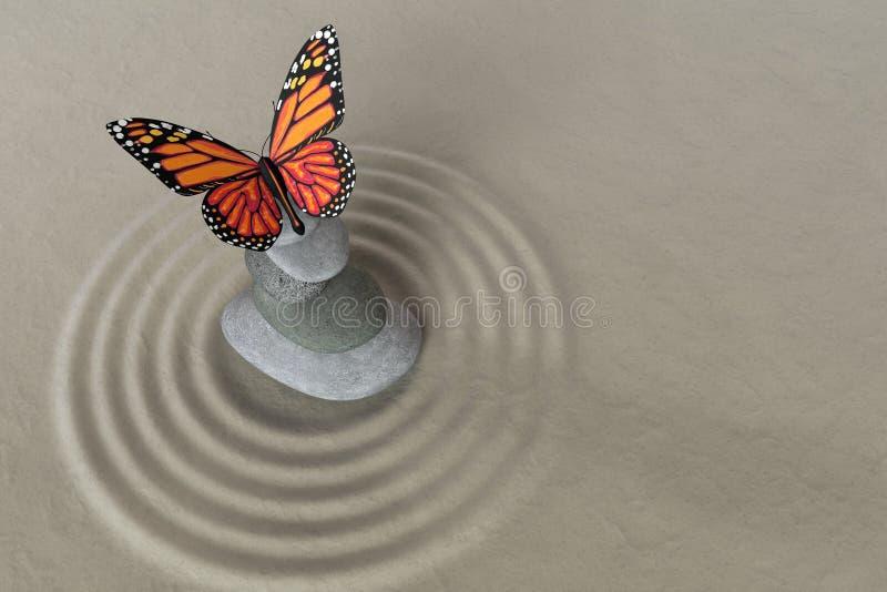 禅宗庭院与蝴蝶的凝思石头 库存图片