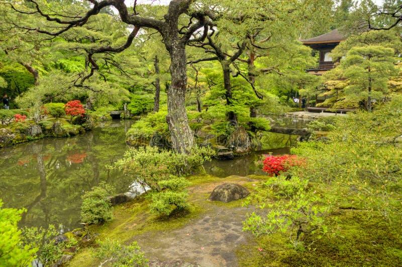 禅宗庭院, Ginkakuji寺庙,京都 库存照片