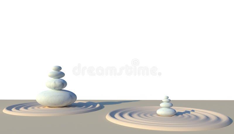禅宗石头为在白色背景的完善的凝思靠岸 库存例证