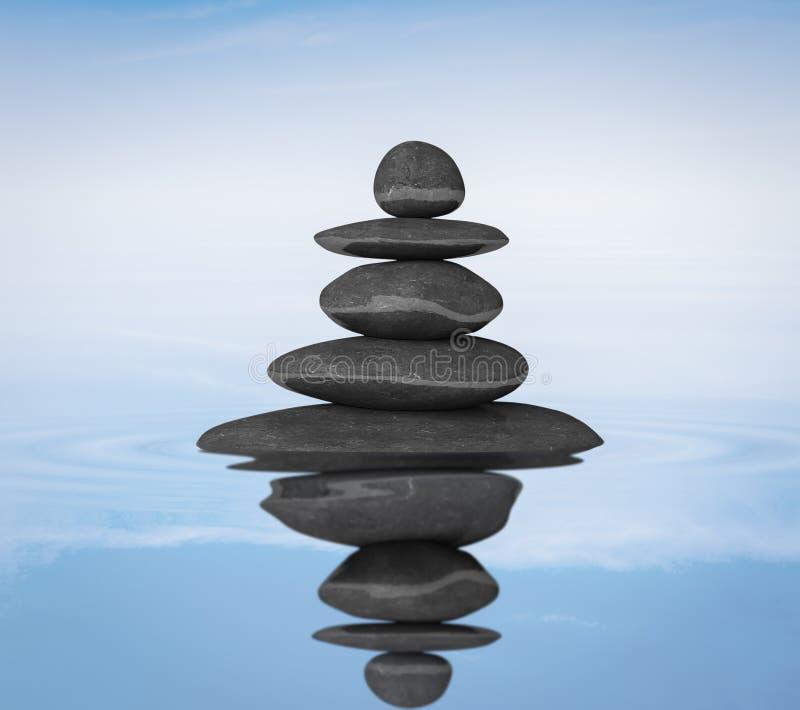 禅宗向平衡概念扔石头 免版税图库摄影