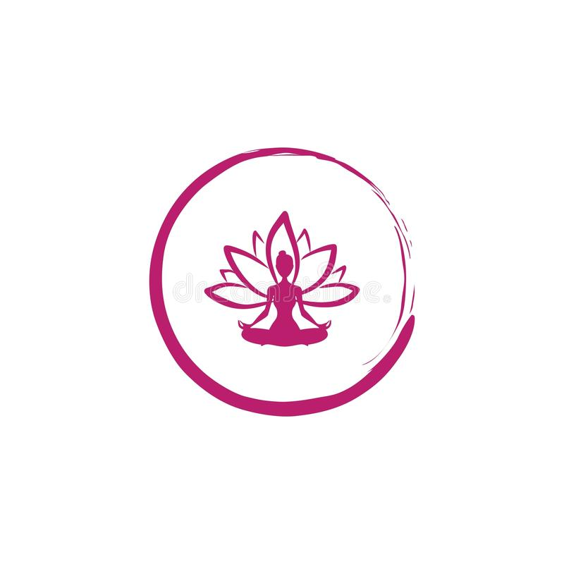 禅宗莲花,妇女剪影瑜伽商标传染媒介 库存图片