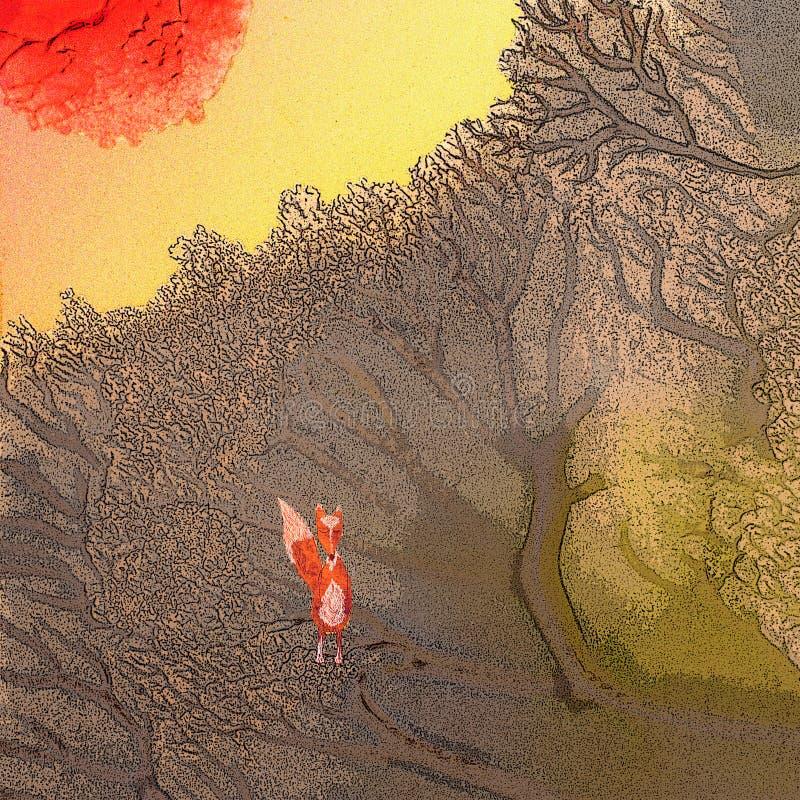 禅宗:一个小镇静森林在日出的森林里 向量例证