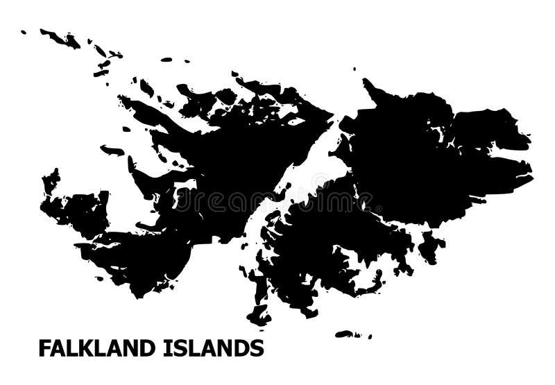 福克兰群岛的传染媒介平的地图有说明的 库存例证