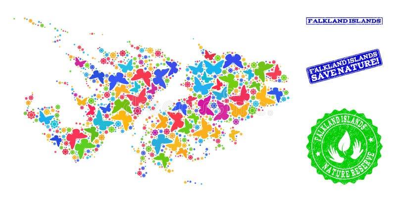 福克兰群岛的地图保存自然拼贴画有蝴蝶和橡胶水印的 库存例证
