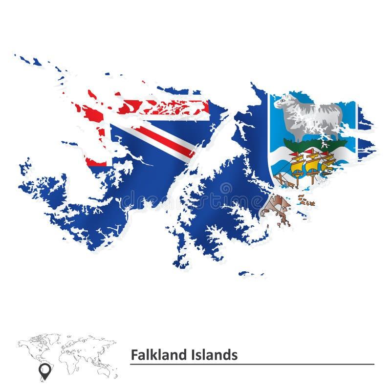 福克兰群岛的地图有旗子的 向量例证