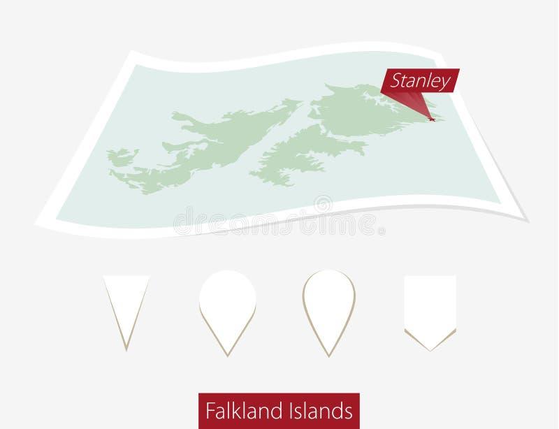 福克兰群岛的弯曲的纸地图有资本的斯坦利在Gra 向量例证